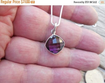 ON SALE Beautiful deep amethyst necklace handmade in sterling silver
