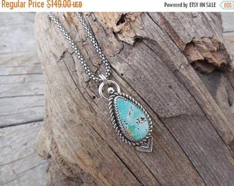 ON SALE Turquoise necklace handmade in sterling silver 925 with a turquoise stone from the Dry Creek mine