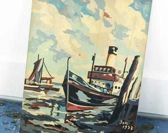 Vintage Paint by Number Boat Ship PBN 1950s Canvas Fabric Wood Panel