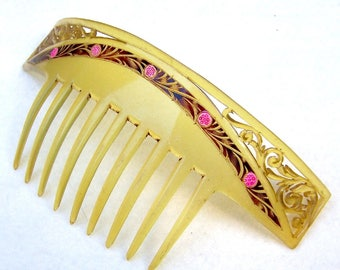 Art Nouveau hair comb celluloid bandeau style hair accessory headdress headpiece hair ornament decorative comb