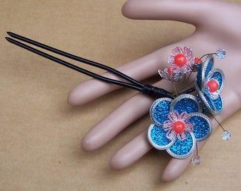 Vintage Japanese Kanzashi hair pin Geisha flower rhinestone hair pick hair fork hair accessory hair ornament