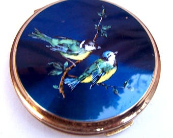 Vintage Stratton powder compact mid century enamel birds, purse compact, vintage makeup accessory vanity storage mid century Mad Men
