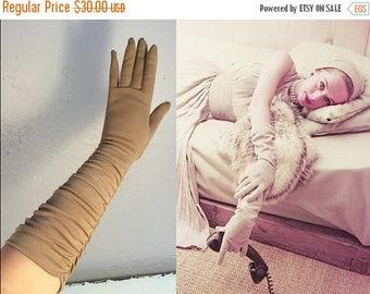 BI-ANNUAL SALE Let It Please Be Him - Vintage 1950s Mocha Frosting Brown Ruched Long Gloves - 6.5/7