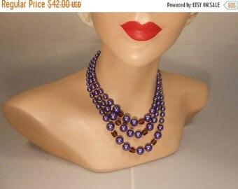 Anniversary Sale 35% Off The Tempest - Vintage 1950s Plum & Aubergine Purple 3 Strand Faux Pearl Necklace