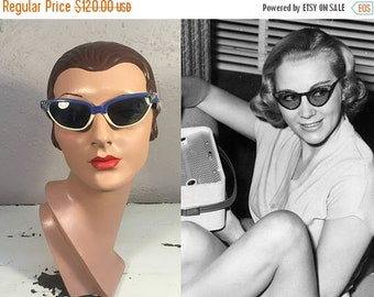 Anniversary Sale 35% Off Over the Moon with Veronica Moon - Vintage 1950s Royal Blue & Ivory Lucite Cat Eye Sunglasses