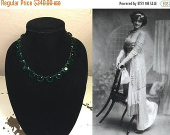 Anniversary Sale 35% Off Gertie Millar Countess of Dudley - Vintage 1910s Edwardian Czech Green Beveled Glass Necklace