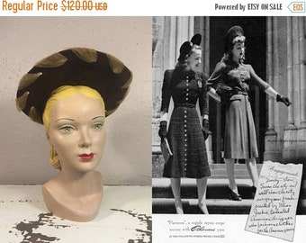 Anniversary Sale 35% Off A Luncheon Engagement - Vintage 1940s WW2 Chocolate Brown Felt Halo Hat Cut Out Detail w/Mesh Trim