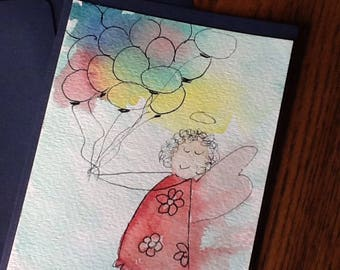 Patty Balloon  Angel Watercolor Gift or Note Card