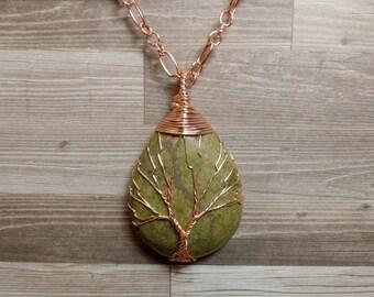 Unakite Tree of Life Necklace - Unakite Necklace - Gemstone Tree Necklace - Unakite Pendant - Copper Teardrop Necklace