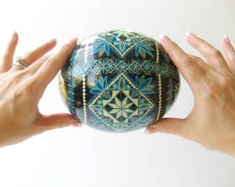 Ostrich egg Pysanka by Katya Trischuk in traditional Ukrainian pattern with Blue and black