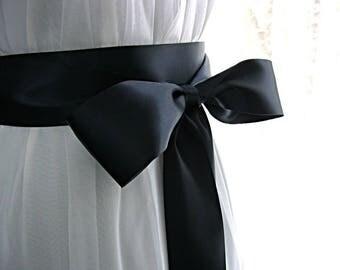3 inch wide Navy blue / dark blue wedding sash, bridal sash, bridesmaid sash, bridal belt, 3 inch satin ribbon