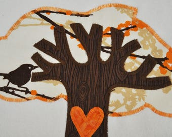 Organic Tree of Life Baby Blanket -- Orange
