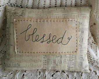 Prim Stitchery blessed Pillow ~ OFG