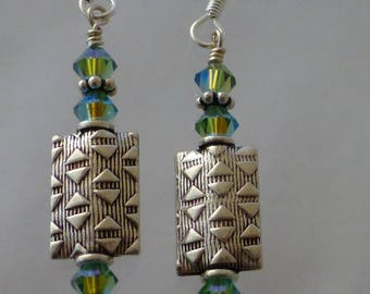 Genuine Swarovski Crystal & Patterned Silver Earring Dangles