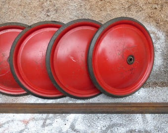 4 vintage Official Soap Box Derby tires Wheels 12 inch red metal tire w/ axles restoration go cart hardware supplies