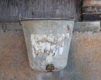 Vintage bucket hanging planter fence gate Rustic farmhouse Primitive Barn salvage Garden Planters Storage Industrial