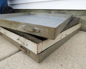 Vintage steel tray metal drawer large flat storage Industrial table centerpiece display supply organizer