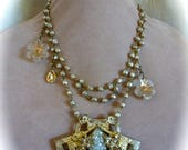HUGE SALE Baroque Pearl Multilayer Necklace, OOAK Victorian Style, Repurposed Baroque Pearl Brooch Gold and Pearls