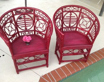 BRIGHTON STYLE CHIPPENDALE Chairs / Pavilion Style Fretwork Chairs / Pair of Vintage Bamboo Rattan Chippendale Chairs at Retro Daisy Girl