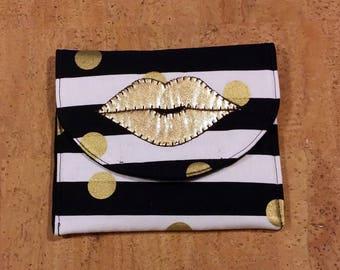 LipSence, Lipstick, lip gloss pouch, holder, custom made, black, white, gold, holds 6-7 lipsticks, gold lips , great down line gift