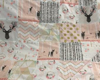 Patchwork Quilt- Brambleberry Ridge Rag Quilt- Metallic Gold- Mint and Gold- Crib Quilt- Nursery Decor- Baby Blanket- Woodland- Antlers