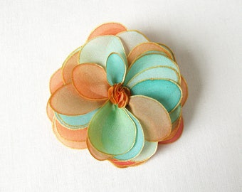 Natural silk rose brooch - tropical mix of coral, mint, lime green and gold - hand painted silk flower brooch - natural silk flower