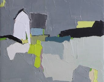 Shadow Dance - 9x12 Oil Painting, On Canvas, Farmhouse, Original Painting, Barn