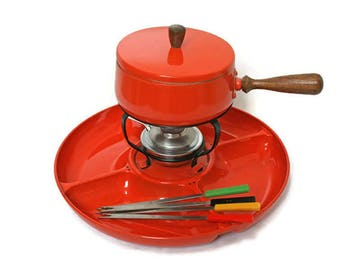 Mid-Century Fondue Pot  /  Orange Fondue Set with Forks and Divided Tray and Stand  /  Retro Dinning  /  Food Photography Stage or Set Prop