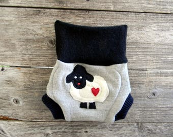 Upcycled Wool Soaker Cover Diaper Cover With Added Doubler Black/ Gray/Navy With Baa Baa Sheep Applique SMALL 3-6M
