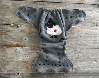 Upcycled Merino Wool Nappy Cover Diaper Wrap Cloth Diaper Cover One Size Fits Most Gray With Baa Baa Sheep Applique/ Beige