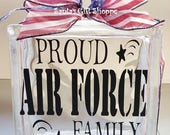 Air Force Decal, GlassBlock Lettering, Proud Family, Patriotic,Vinyl Lettering, stickers, Glass Block Crafts, 6.5in. x 6.5in.Christmas Gift