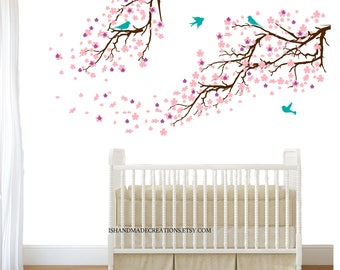 nursery wall decal  tree Cherry blossom flowers wall decal EXTRA LARGE - wall decals cherry blossom and birds / custom branches wall decals