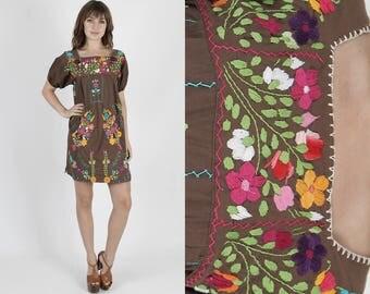 Mexican Dress Embroidered Dress Boho Dress Hippie Dress Brown Dress Vintage Dress Bright Floral Boho Hippie Festival Party Mini Dress M