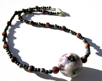Choker necklace, brown and blue, speckled stone, 16 inches long