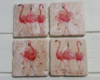 Whimsical Flamingo Stone Coaster Set of 4 Tea Coffee Beer Coasters
