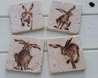 Country Hare (small print) Stone Coaster Set of 4 Tea Coffee Beer Coasters