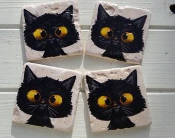 Whimsical Cross Eyed Cat Stone Coaster Set of 4 Tea Coffee Beer Coasters