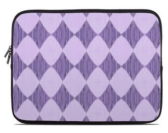Purple laptop sleeve, diamond pattern, Ikat print laptop cover, laptop case, to fit 10, 13, 15, 17 inch lilac and plum