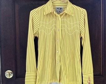 Vintage Eeso Yellow Stripe Disco Hippie Men's Strecth Shirt Size S