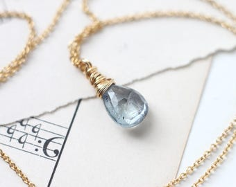 Icey Blue Fancy Sapphire Necklace Wire Wrapped in 14k Gold Filled Necklace, September Birthstone