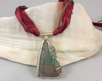 Necklace- Thulite, Sterling, Silk