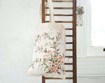 Vintage Hankie Tote Bag, Floral Cotton Tote, Market Bag, Beach Bag, Book Bag, Boho Tote Bag