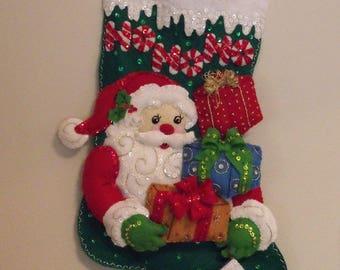 Glittery HO HO HO Santa, 18 inch,  Personalized Christmas Stocking