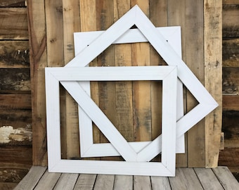 ON SALE - White Picture Frame Set of 3, Rustic Set, 3-16x20 Photo Frame, Gallery Frame Set, Lot 262