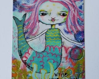 NEW Art Post Card, Swag Card, Happy Mail, Art Print, Art Journal ,Note Card, Stationary,Artist Trading Card, magical story,by- Judie Parsons