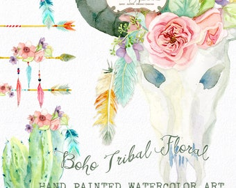 Watercolor Boho Tribal Floral Digital Clipart Clip Art, Bohemian, Cactus, Wild Child, Arrows, Peace, Rose Flowers Feathers Cow Skull Horns
