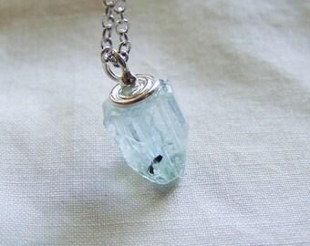 Blue Aquamarine Raw Crystal Gemstone Pendant Necklace