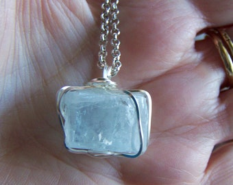 Aquamarine Raw Gemstone Crystal Pendant