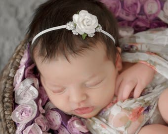 White floral headband , newborn headband , white rose headband , baby girl headband , photographer props , girls headband roses & rhinestone