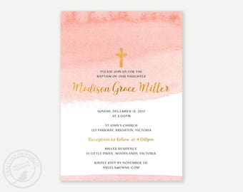 Watercolour Baptism or Christening Invitation, Blush Pink Watercolor Baptism, Christening Invitation,  Printable, Digital, 9025